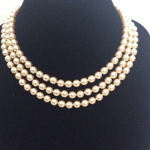 Multi Stand of Champagne Coloured Faux Pearls